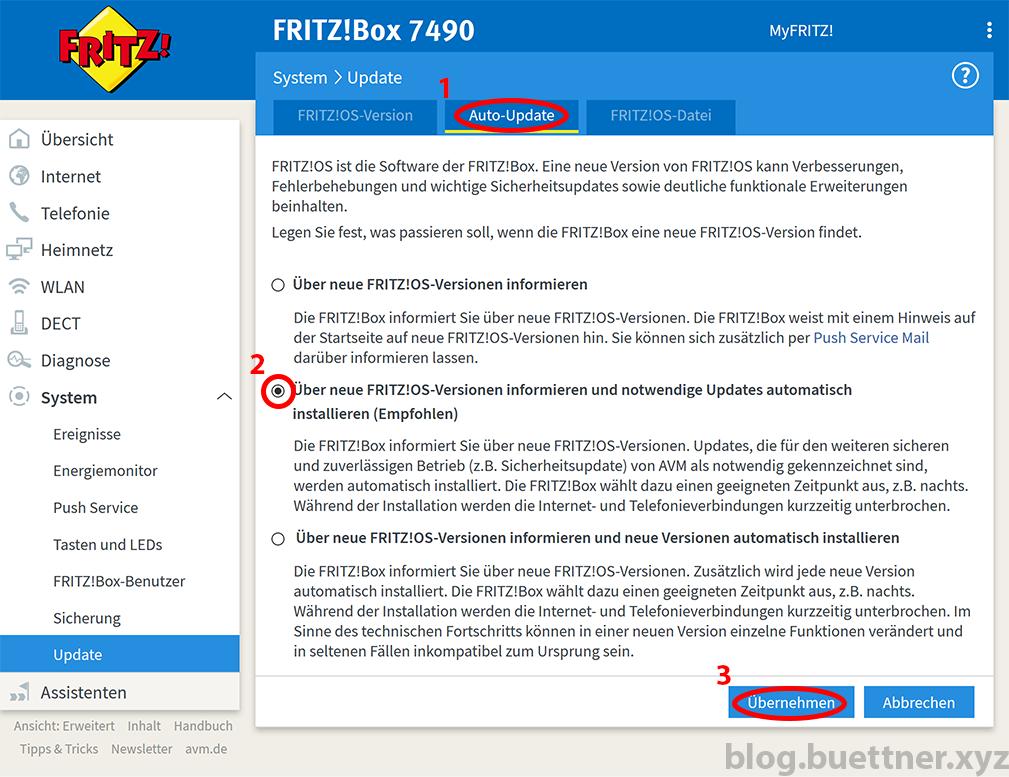 Automatische Updates der FRITZ!Box konfigurieren