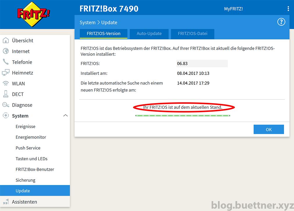 Ergebnis des FRITZ!Box Updatesuchvorgangs