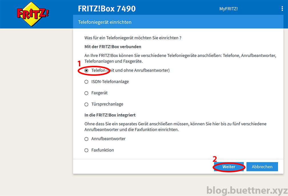 FRITZ!Box neues Telefoniegerät einrichten - Schritt 1