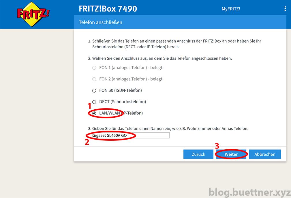FRITZ!Box neues Telefoniegerät einrichten - Schritt 2