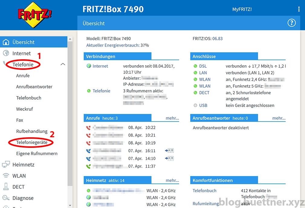 FRITZ!Box Telefonie Menü