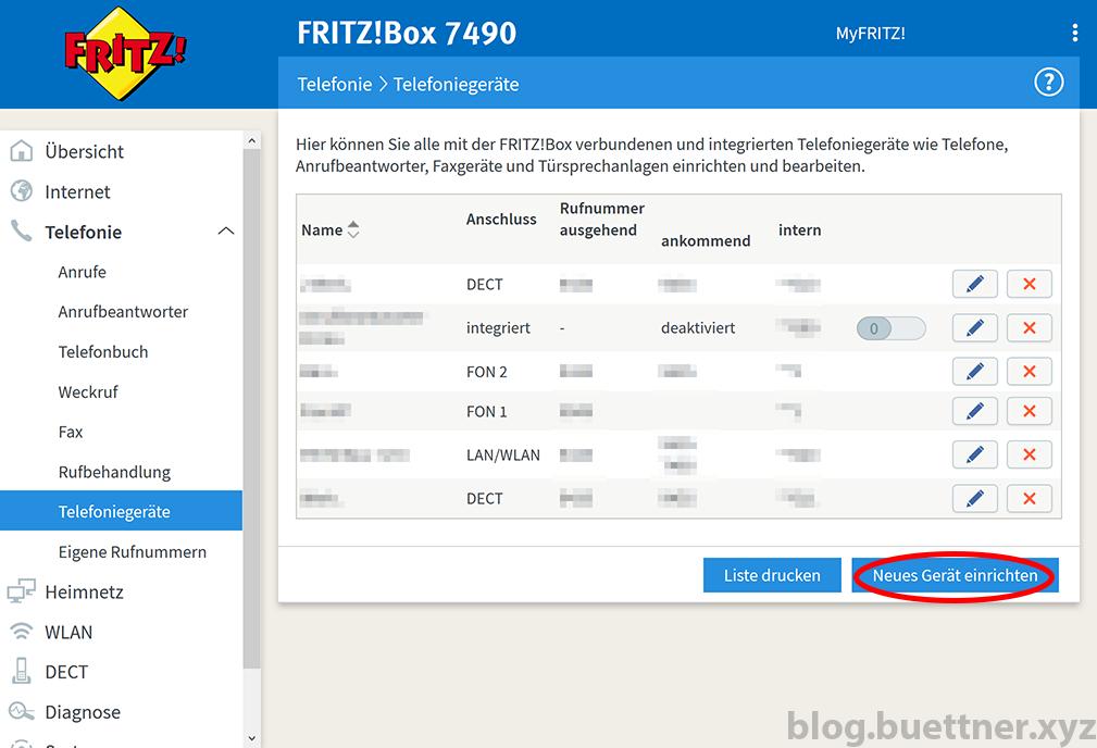 FRITZ!Box Telefoniegeräte Menü