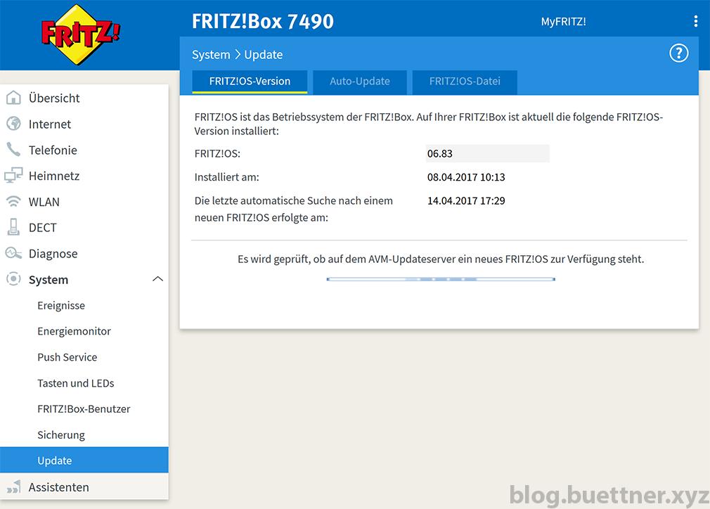 FRITZ!Box Updatesuchvorgang