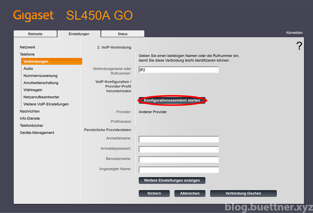 Gigaset GO Website - Assistent für zusätzliche Telefonieverbindung starten