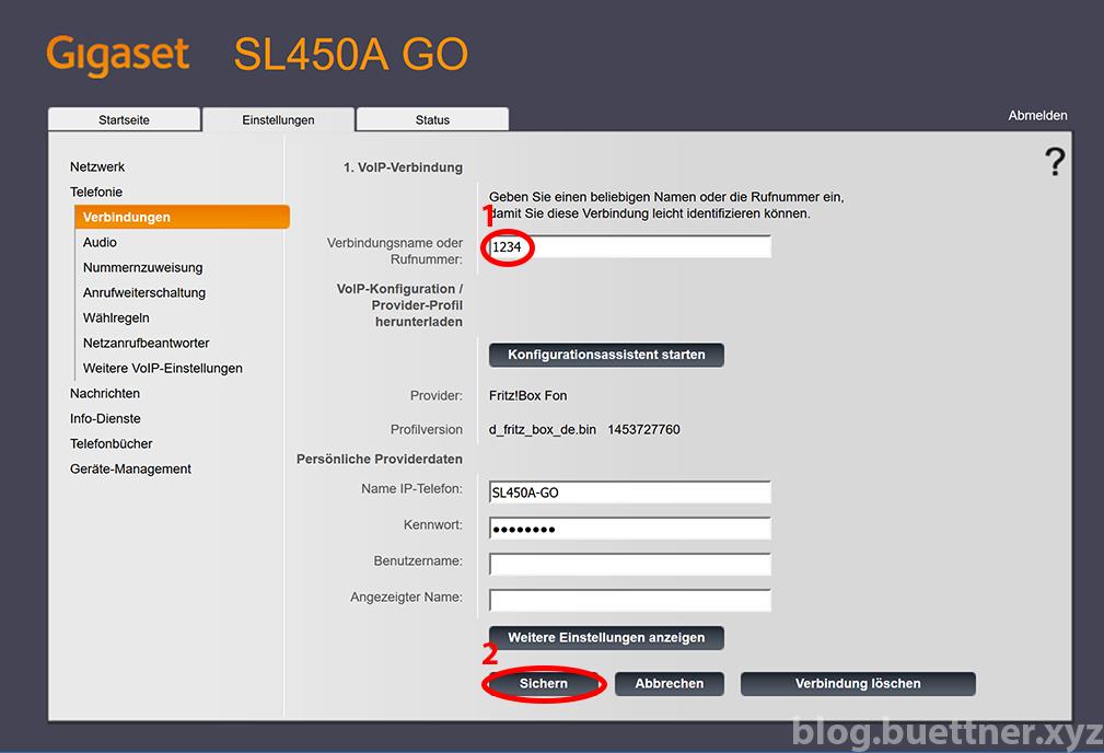 Gigaset GO Website - Telefonieverbindungen bearbeiten