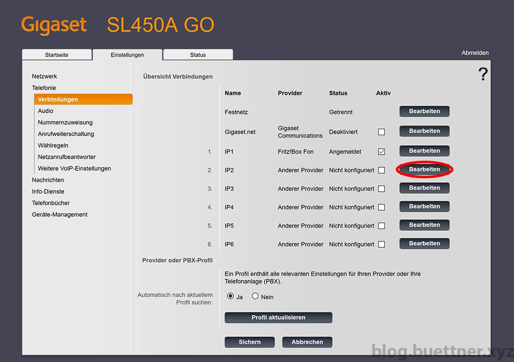 Gigaset GO Website - Zusätzliche Telefonieverbindung