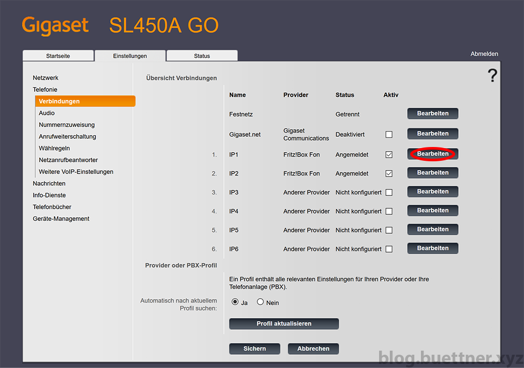 Gigaset GO Website - Telefonieverbindungen