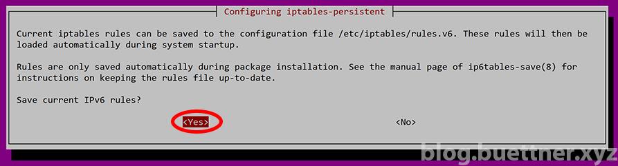 iptables-persistent Installation - Speichern der iptables Regeln
