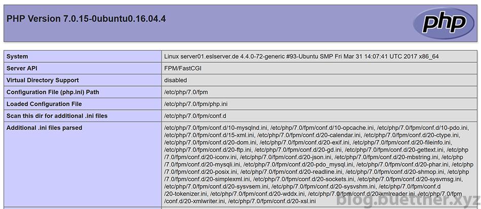Beispielhafte Ausgabe von phpinfo()