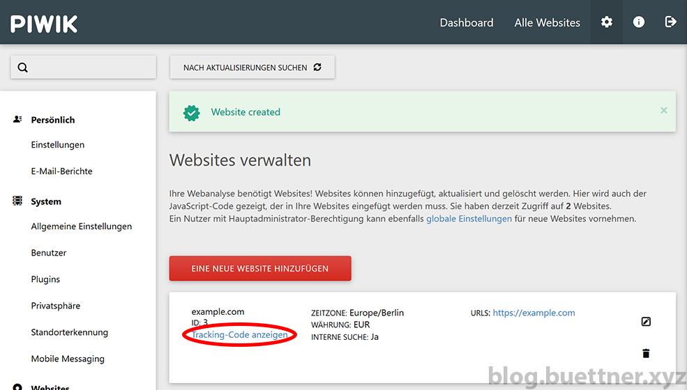 Piwik Tracking Code einer Website anzeigen