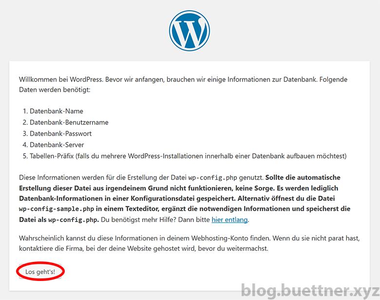 Schritt 1 der WordPress Installation