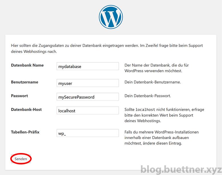 Schritt 2 der WordPress Installation