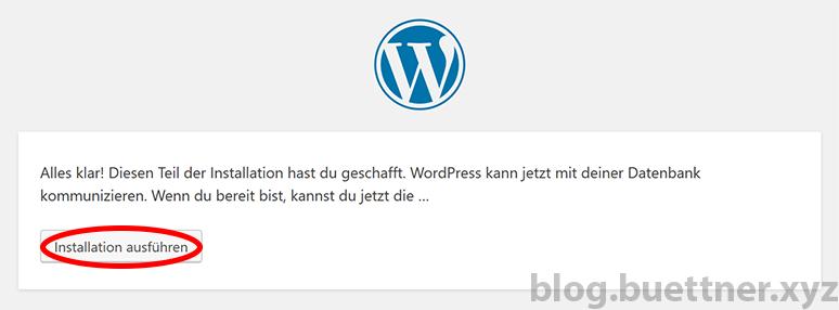 Schritt 3 der WordPress Installation