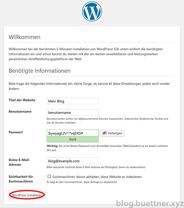 Schritt 4 der WordPress Installation