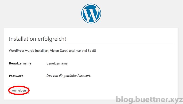 Schritt 5 der WordPress Installation