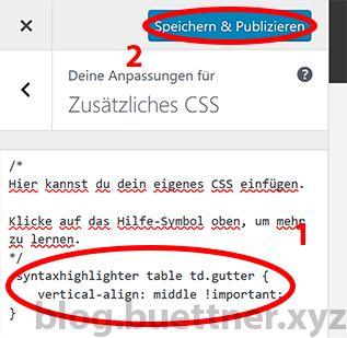 WordPress Theme Customizer - Zusätzliches CSS bearbeiten