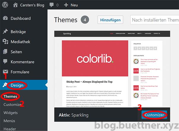 WordPress Theme Customizer aufrufen