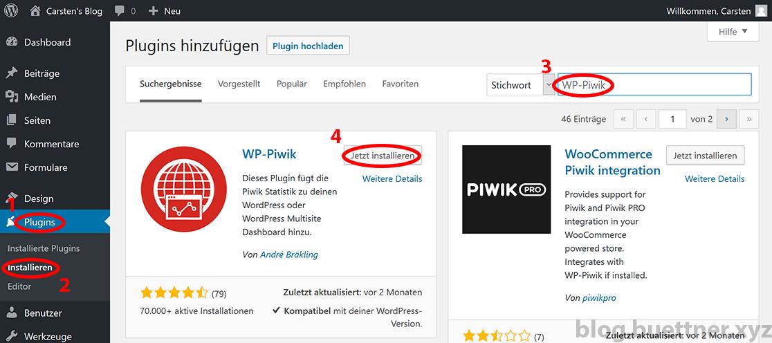 WP-Piwik installieren