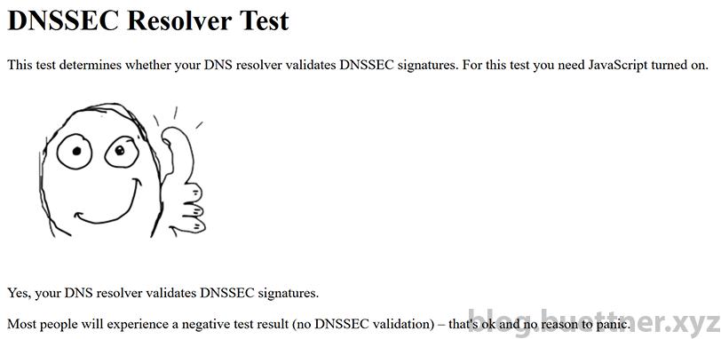 Erfolgreicher DNSSEC Test