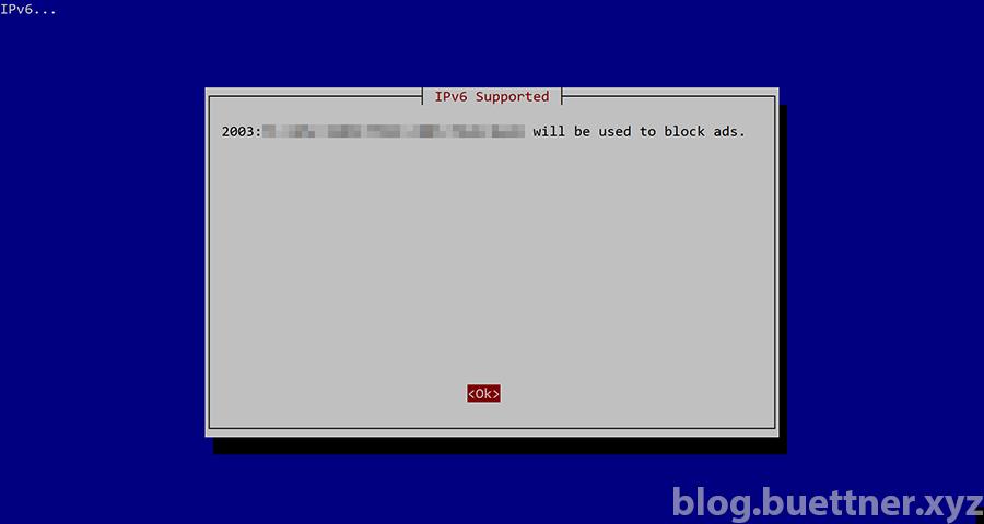 Pi-hole Installation: Verwendete IPv6 Adresse