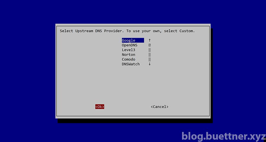 Pi-hole Installation: Auswahl Upstream DNS Provider