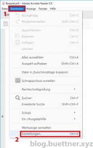 Adobe Acrobat Reader DC Einstellungen Öffnen