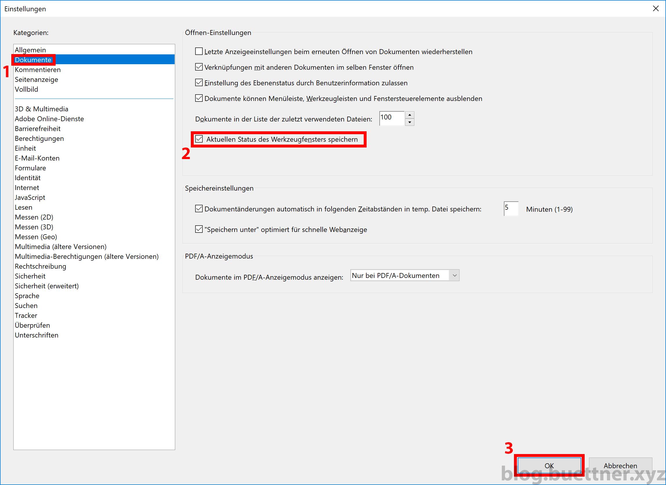 Adobe Acrobat Reader DC Einstellungen Werkzeugfenster