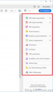 Adobe Acrobat Reader DC Werkzeugfenster